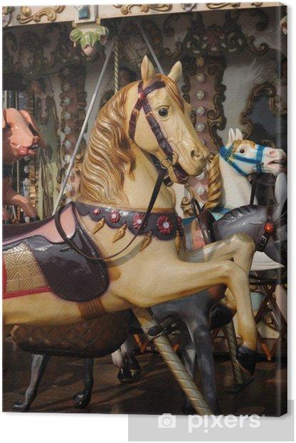 Tableau sur toile Normandie, un Crousel rétro à Honfleur - Vacances