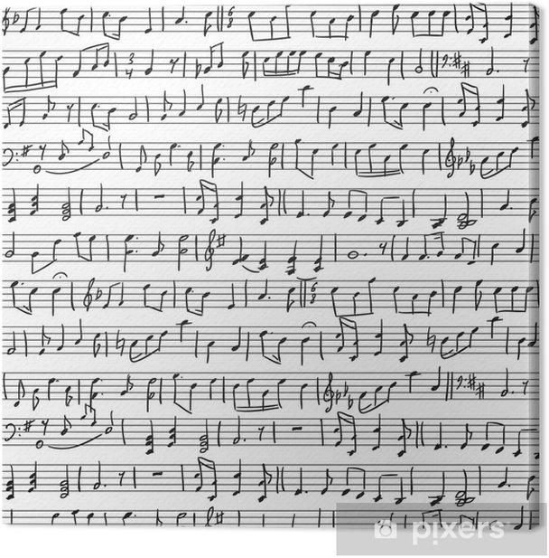 Tableau sur toile Notes musicales manuscrites - Arrière plans
