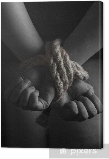 Tableau sur toile Nu soumise femme menotté, acte servitude - Thèmes