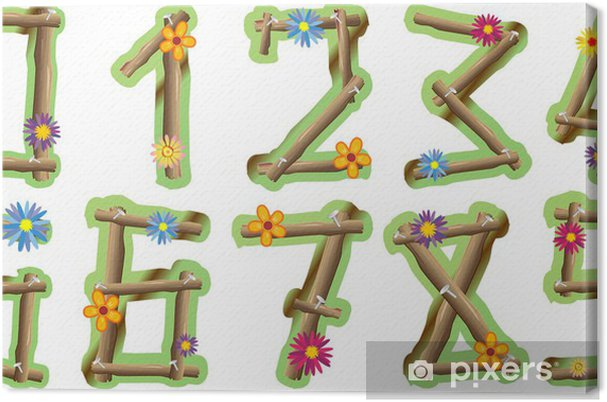 Tableau sur toile Numeri Fiori e Legno-Bois et Fleurs Numbers-vectorielle - Sciences fondamentales et appliquées