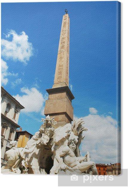 Tableau sur toile Obélisque Fontaine des Quatre Fleuves sur la Piazza Navona, Rome - Villes européennes