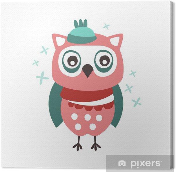 Tableau Sur Toile Oiseau Chouette Dessin Animé Mignon Dans Un Chapeau Et Une écharpe Illustration Vectorielle De Caractère Coloré