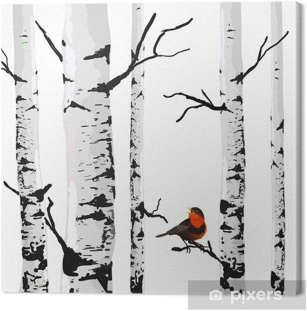 Tableau sur toile Oiseau de bouleaux, dessin vectoriel avec des éléments modifiables. - Affaires