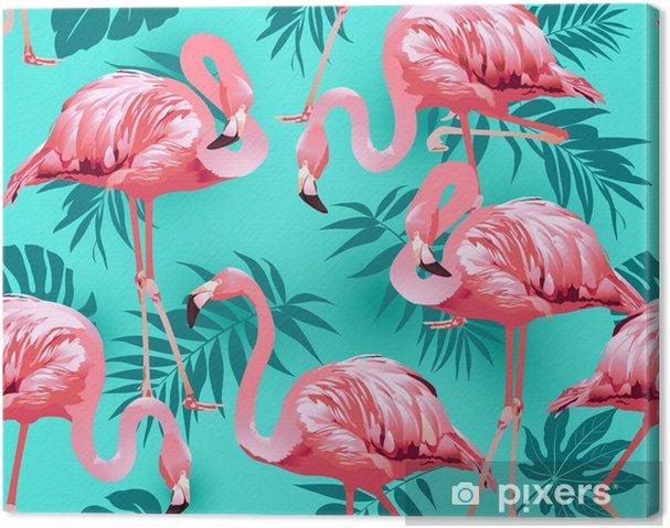 Tableau sur toile Oiseau de flamant rose et fond de fleurs tropicales - vecteur de motif sans soudure - Plantes et fleurs