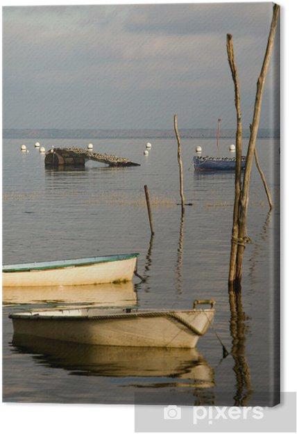 Tableau sur toile Oiseaux et barques du Bassin d'Arcachon - Vacances
