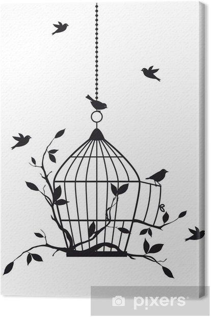 Tableau sur toile Oiseaux libres avec cage ouverte, vecteur -