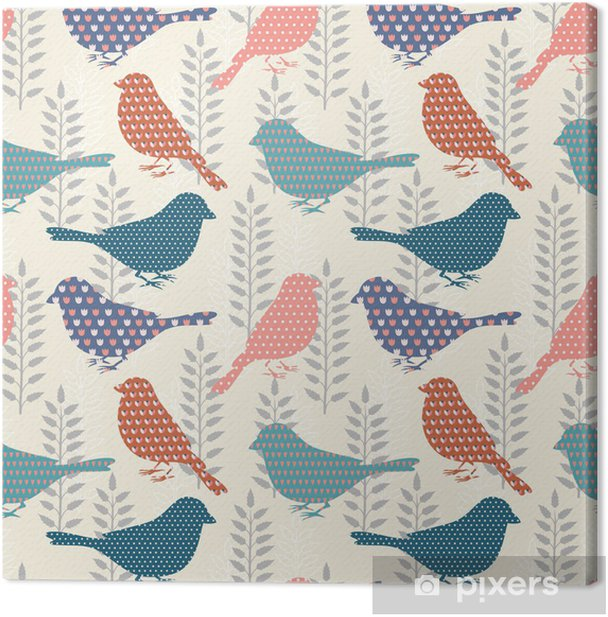 Tableau sur toile Oiseaux, seamless - Styles