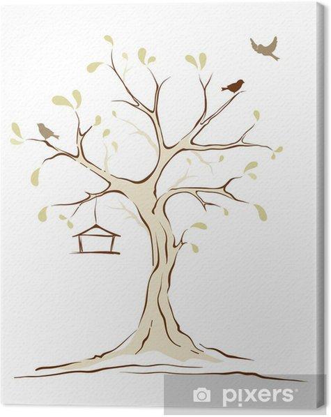 Tableau sur toile Oiseaux sur l'arbre de printemps - Saisons