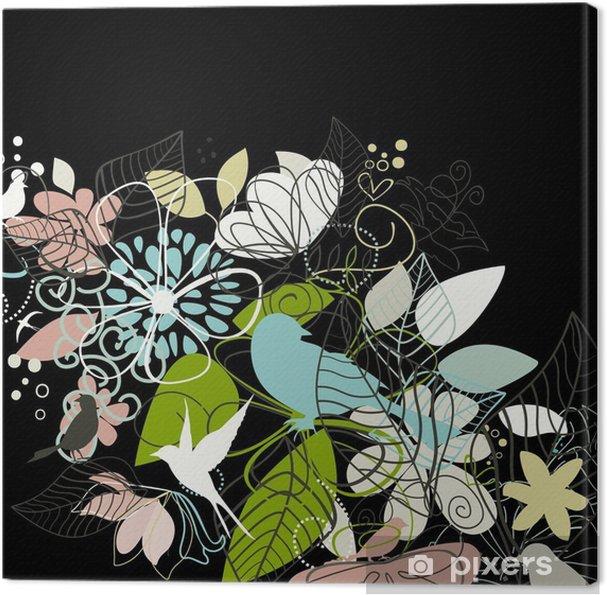 Tableau sur toile Oiseaux une fleur - Fleurs