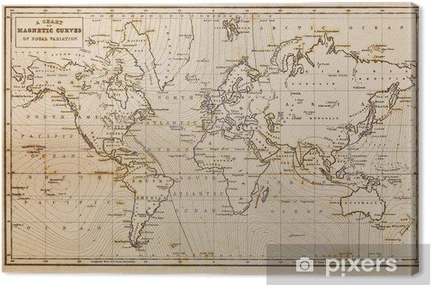 Tableau sur toile Old hand carte tracée cru monde - Thèmes