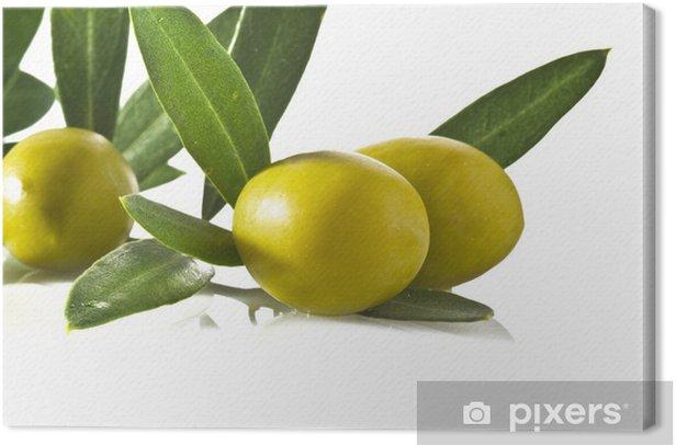 Tableau sur toile Olives agrandi sur fond blanc - Repas