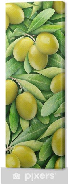 Tableau sur toile Olives vertes fond - Olives