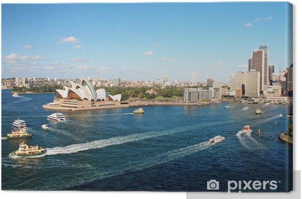 Tableau sur toile Opéra de Sydney avec ferrys en foregournd - Thèmes