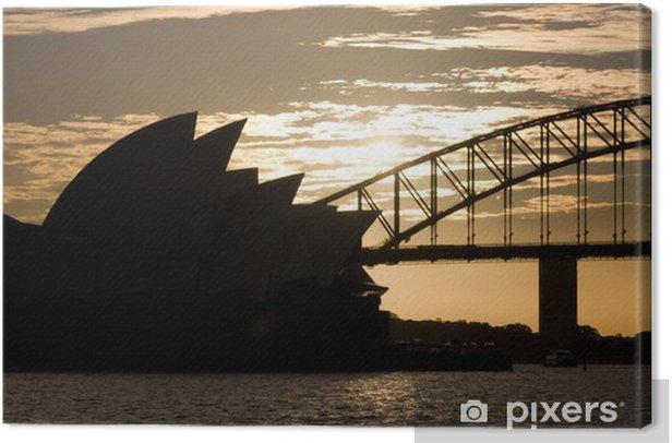 Tableau sur toile Opéra et le pont silouette - Thèmes
