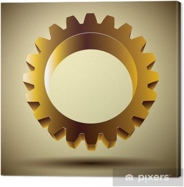 Tableau sur toile Or icône d'engrenage, élément de conception de vecteur 3D. - Réussite