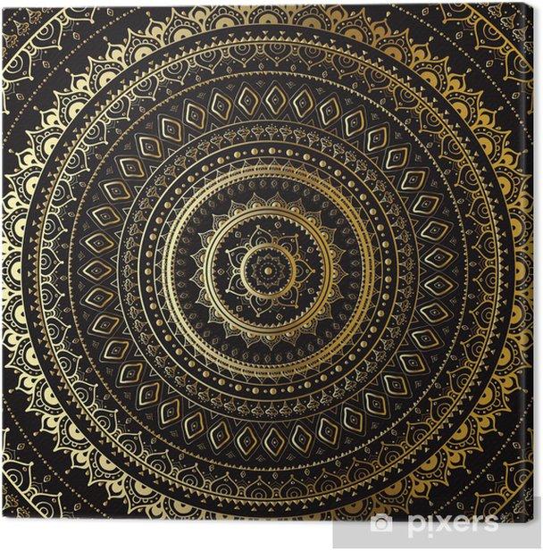 Tableau sur toile Or Mandala. Motif décoratif indien. - Thèmes