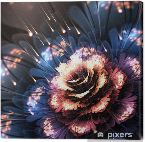 Tableau sur toile Orange bleu fleur de fractale - Fleurs