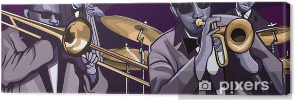 Tableau sur toile Orchestre de jazz avec trompette trombonne contrebasse et batterie - Jazz