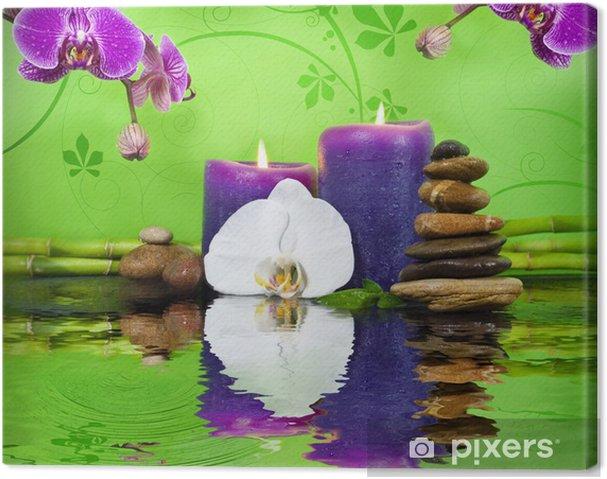 Tableau sur toile Orchidée avec bambou sur ardoise, des bougies et des  pierres