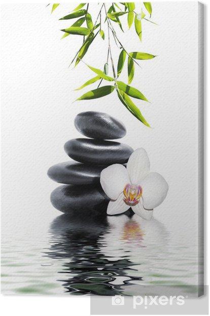 Tableau sur toile Orchidée blanche fleur fin bambou -