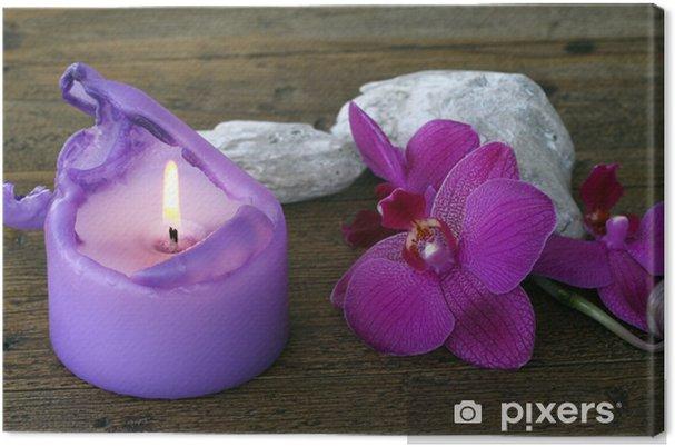 Tableau sur toile Orchidée et bougie - Fleurs