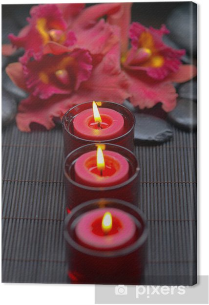 Tableau sur toile Orchidée rouge avec une rangée de bougies et de pierres zen sur le tapis - Beauté et soins du corps