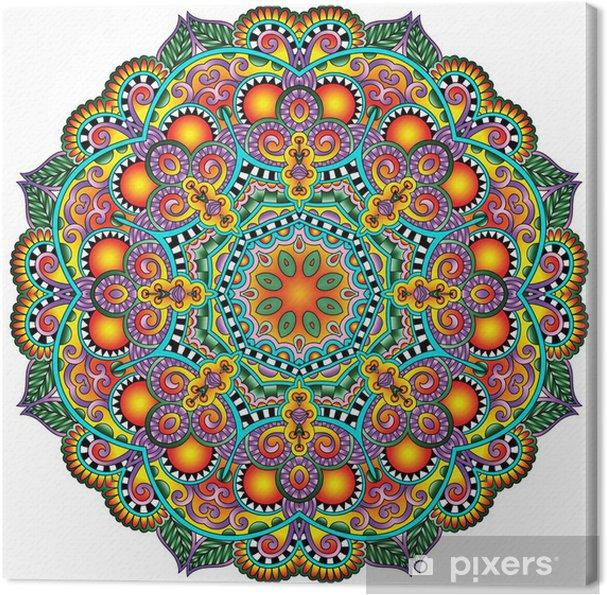 Tableau sur toile Ornement de dentelle de cercle, modèle de napperon ornement géométrique ronde - Styles