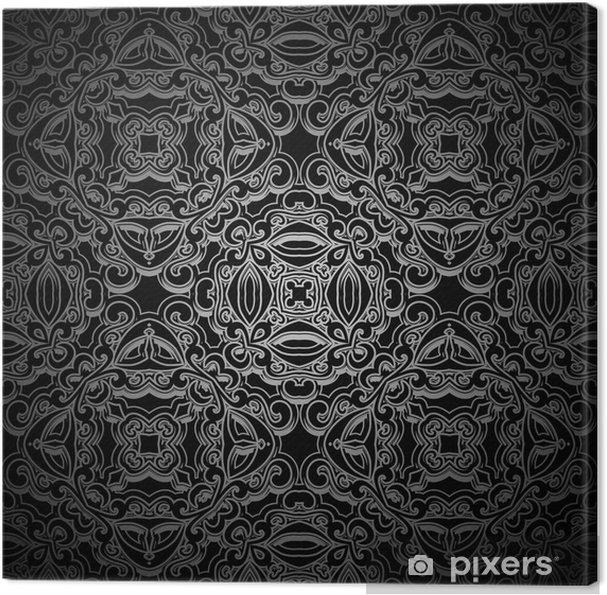 Tableau sur toile Ornemental fond noir, motif sans couture - Arrière plans
