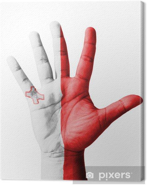 Tableau sur toile Ouvrir main levée, le concept polyvalent, drapeau Malte peint - Parties du corps