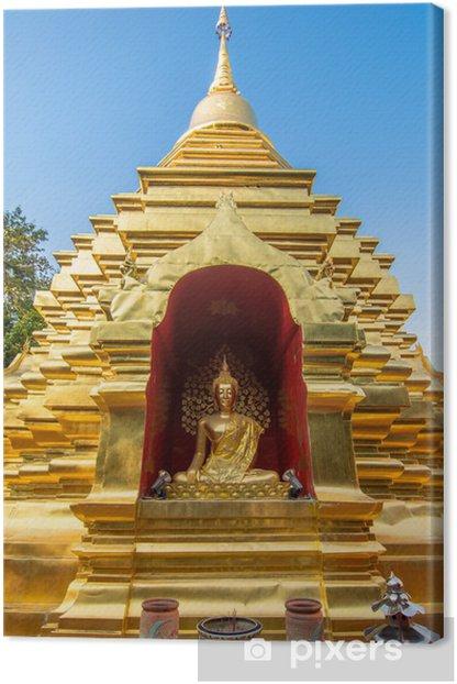 Tableau sur toile Pagode d'or au temple de Wat Phan Ohn à Chiang Mai - Villes d'Asie