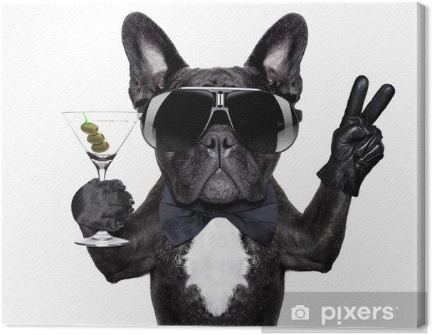 Tableau sur toile Paix cocktail chien - Sticker mural