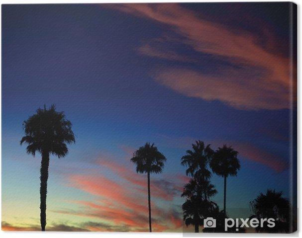 Tableau sur toile Palmier coucher de soleil - Désert