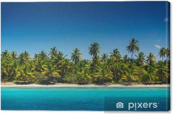 Tableau sur toile Palmiers sur la plage tropicale, l'île de Saona, Dominican Republ - Îles