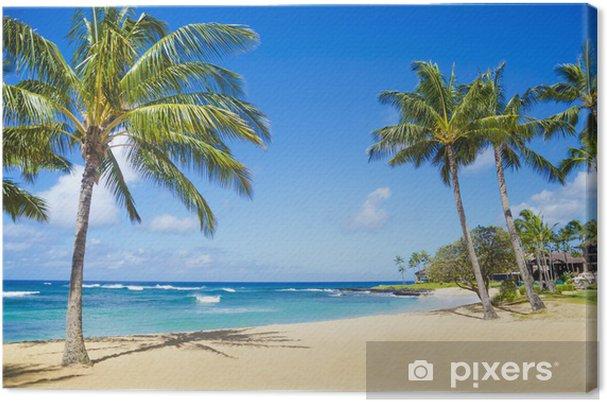Tableau sur toile Palmiers sur une plage de sable à Hawaii - Palmiers