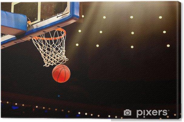 ee7122d19703c Tableau sur toile Panier de basket avec tous passer par net - Basket-Ball