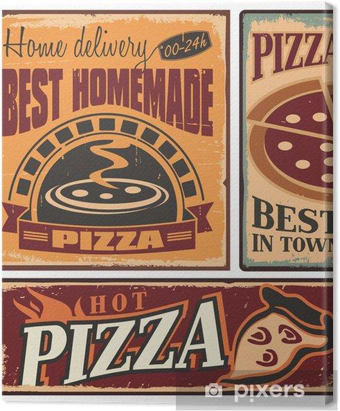 Tableau sur toile Panneaux métalliques rétro fixés pour pizzeria ou restaurant italien - Styles