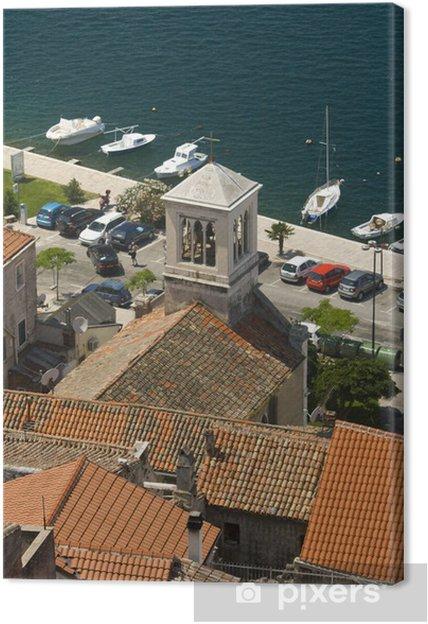 Tableau sur toile Panorama des toits Sibenik, clocher de l'église et la côte - Europe