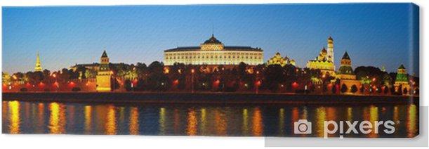 Tableau sur toile Panorama du Kremlin de Moscou dans la nuit. Russie - Villes d'Asie