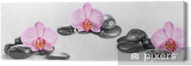 Tableau sur toile Panorama horizontal avec les orchidées roses et de pierres zen sur un bois -