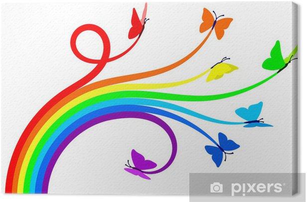 Tableau sur toile Papillons arc-en- - Sticker mural