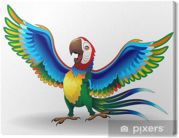 Tableau sur toile Pappagallo Ara Cartoon-Funny-Macaw Parrot Vecteur - Sticker mural