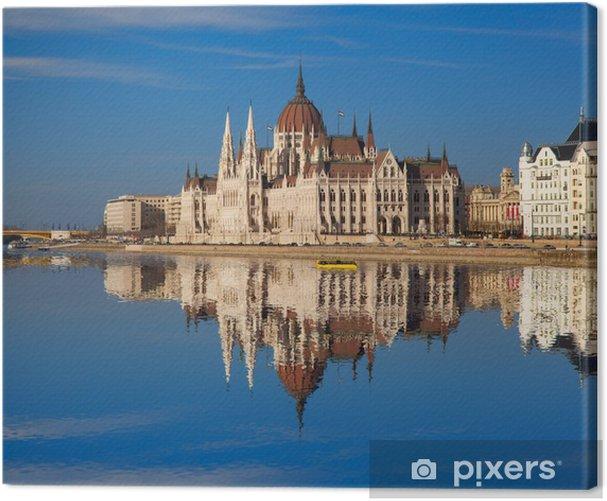 Tableau sur toile Parlement célèbre avec le fleuve à Budapest, Hongrie - Europe