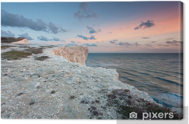 Tableau sur toile Pastel coucher de soleil sur blanc des falaises - Eau