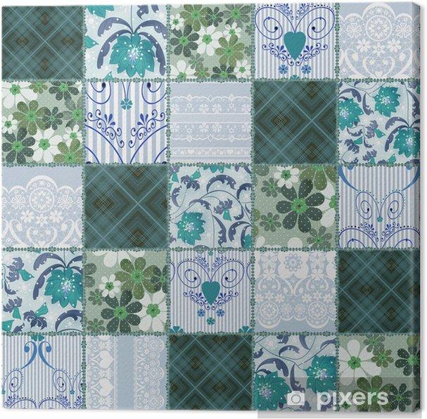 Tableau sur toile Patchwork transparente dentelle motif floral vert - Arrière plans