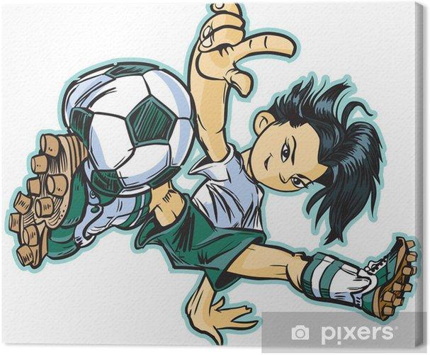Tableau sur toile Pause asiatique danse fille du football Vecteur Clip Art - Sports collectifs