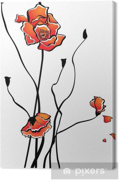 Tableau sur toile Pavot stylisé - Fleurs