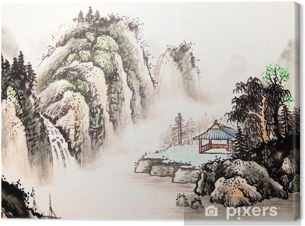 Tableau sur toile Paysage chinois aquarelle painting__ - Paysages