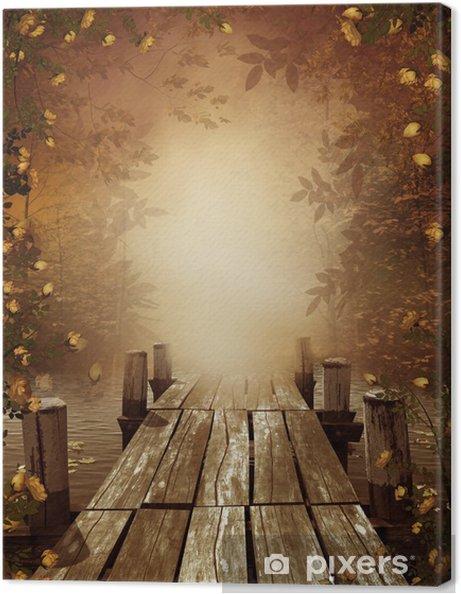 Tableau sur toile Paysage d'automne avec jetée en bois - Styles