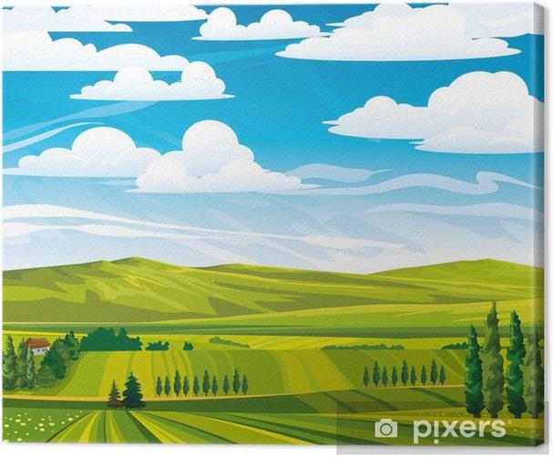 Tableau sur toile Paysage d'été avec de vertes prairies - Saisons