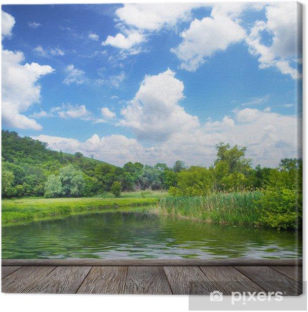 Tableau sur toile Paysage d'été, la rivière et le ciel bleu - Thèmes